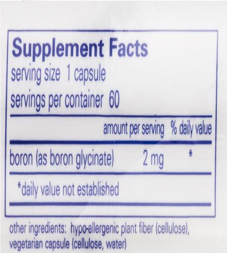 Boron supplement back label